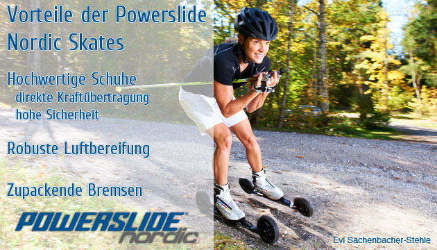 Evi Sachenbacher-Stehle on Powerslide Nordic